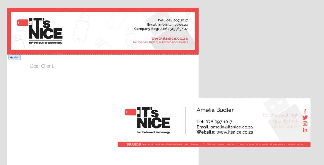 ITS NICE email signature & letterhead design